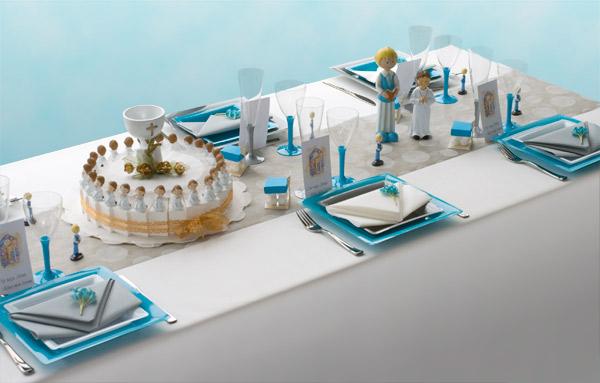 Decoration De Table Communion Blanc Gris Turquoise Decorations Fetes