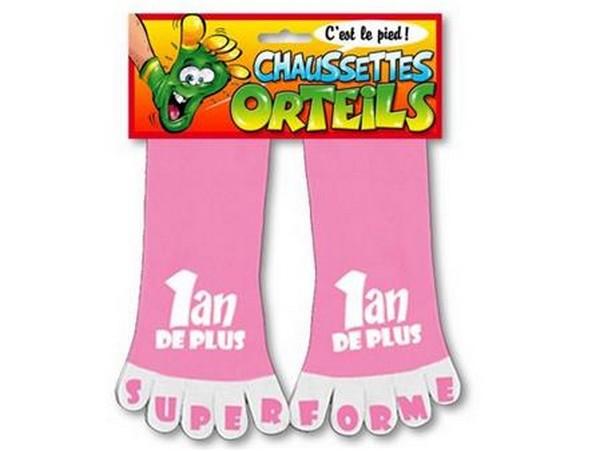 Chaussettes à orteils rose