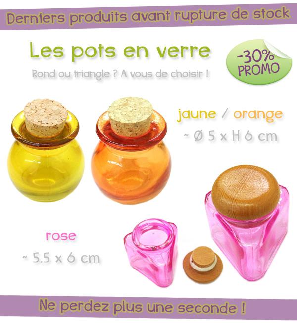 Ces pots en verre coloré sont en promotion !