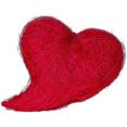 Coussin coeur en sisal rouge