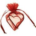 Sachets organdi coeur armuré rouge