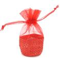 Mini sachets à dragées en jute et organza rouge