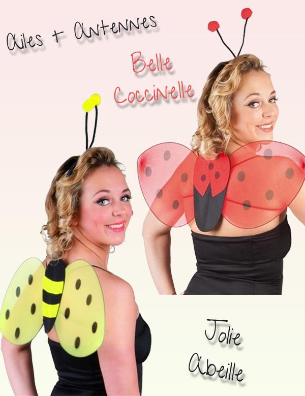 Set de déguisements d'abeille et coccinelle