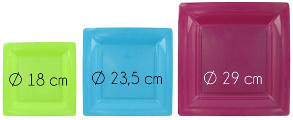 Assiettes carrées jetables