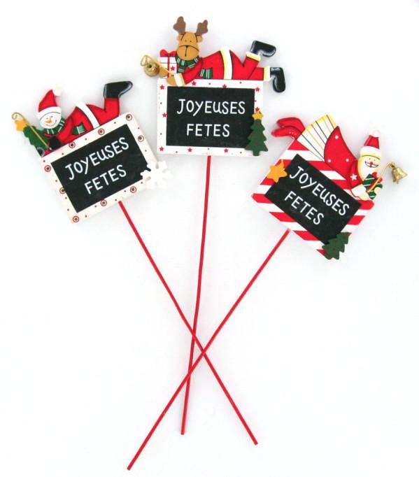 Ardoise sur pique Joyeuses Fêtes
