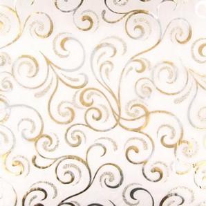Chemin de table cheveux d´ange organza blanc, paillettes et dorures or et argent