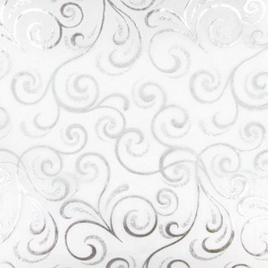 Chemin de table cheveux d´ange, organza blanc, paillettes et dorures argent