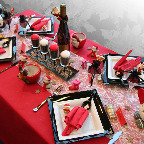 D coration de table no l rouge noir blanc d corations - Decoration fete de fiancaille ...