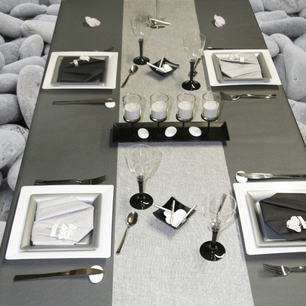 D coration de table blanc gris et noir d corations f tes for Deco table blanc et gris