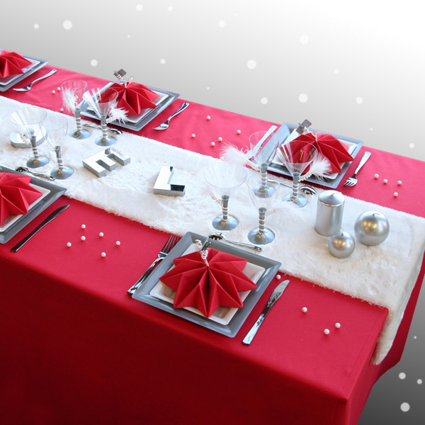 D coration de table no l rouge argent blanc for Table de noel argent et blanc