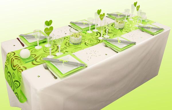 decoration anniversaire vert et blanc