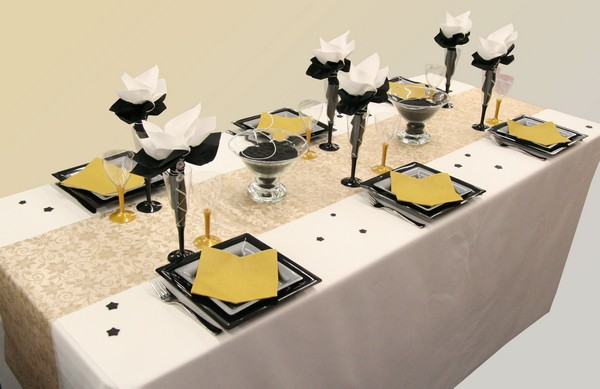décoration de table noël / nouvel an (or, gris et noir