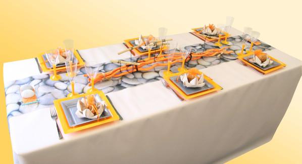 Decoration De Table Galets Orange Et Gris Decorations Fetes