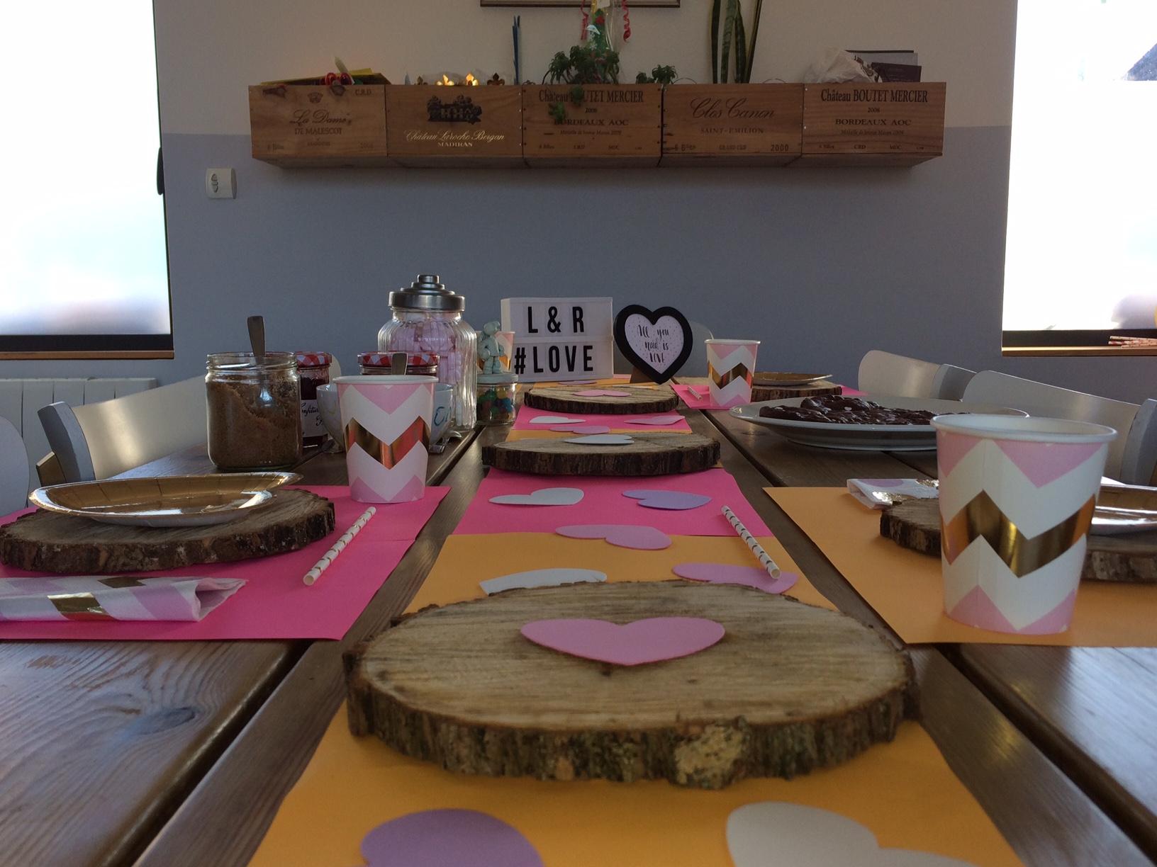 décoration de table saint valentin